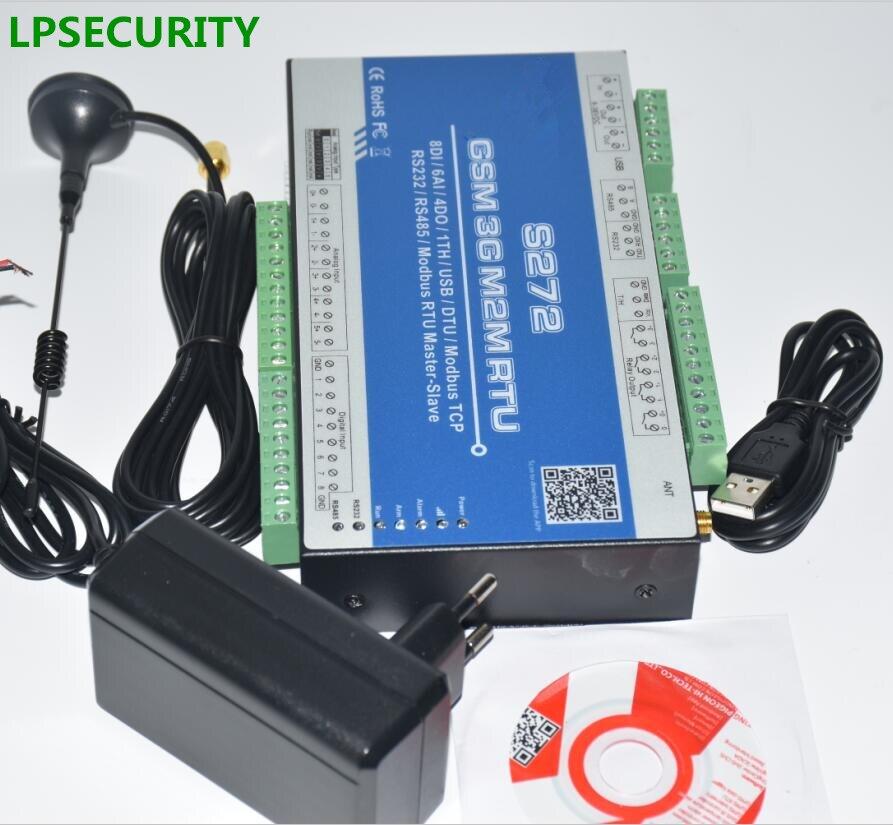 LPSECURITY 3g 2G GPRS modbus промышленный регистратор данных, аналоговый 2 RS232 + 1 RS485 S272, 10 аналоговых входов, 6 цифровых входов, 2 темп