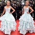2017 Cannes Festive Blue Flowers Ruffle Celebrity Dresses Scoop Neckline Floor Length Ball Gown Costume Made Sleeveless Strap