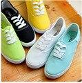 Mulheres lona sapatos da moda sapatos baixos mulheres sapatos baixos cor sólida respirável casuais sapatos de cores doces mulheres 4d27