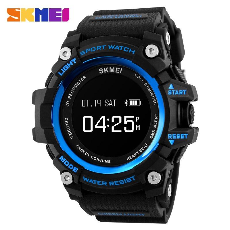 Men Heart Rate Sport Watches SKMEI Top Luxury Brand Smart Watch Bluetooth Pedometer Calorie Digital Wristwatch Relogio Masculino multifunction pulse heart rate calorie wrist watch silver black