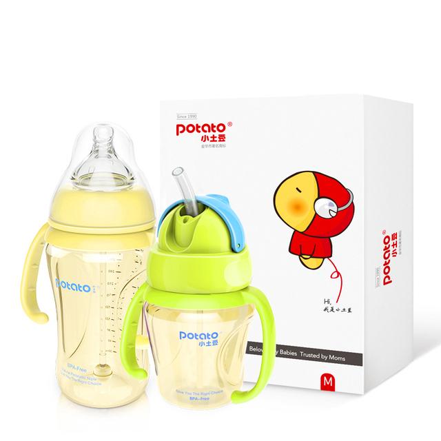 Bebé Taza de Paja Botella 300 ml 180 ml Envase de Alimento Libre de BPA Fruta Jugo Leche Grande Geles Talheres Anti Radiación Chip 60F002