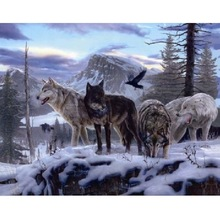 The wolves 5d diy diamond painting cross stitch of  embroidery mosaic decoration gifts