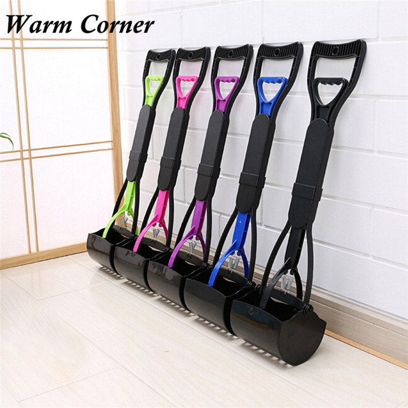 5 colors High Quality Long Handle Dog Cat Pet Pooper Scooper Jaw Poop Scoop Clean Pick Up Waste Free Shipping F16