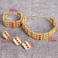 24 K Banhado A Ouro Africano Mergaf Rromo Etiópia Jóias Étnicas Tribais Amuleto Conjunto Casamento