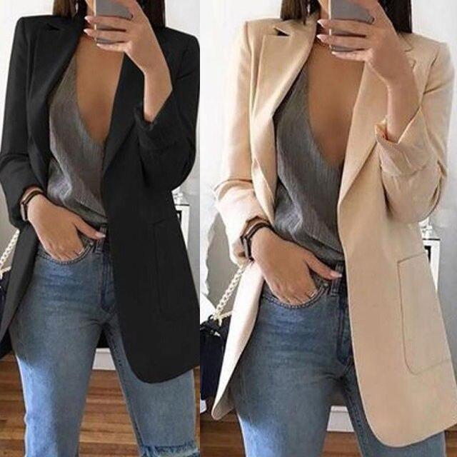 New Women's Casual Mid Coat Lapel Slim Cardigan Outdoor Work Suit Jackets