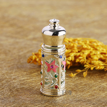 3ml Metal Antiqued Style Retro Hollow Flower Engraved Refillable Empty Perfume Container Empty Bottle