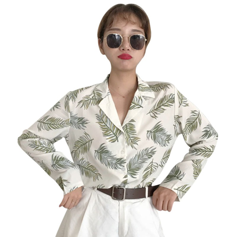 Women Blouse and Tops Leaves Printed Casual Blouse Korean Wool Peach Full and Short Sleeve female lady shirts harajuku