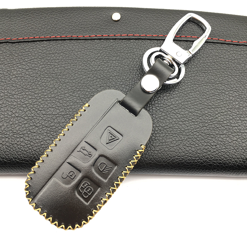 High-quality hand-sewn leather car key cover for Land Rover a9 series freibers freelander Evoque found 4 buttons Key Shell