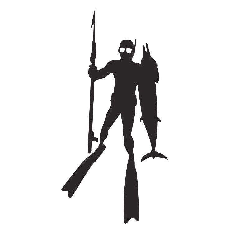 9 3 19cm interesting fishing diver shotgun vinyl decals for Diving and fishing mural