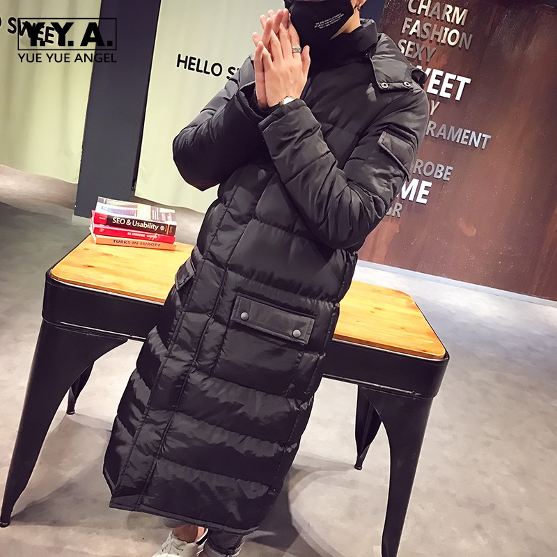 2018 Long Jackets Men High Quality Hooded Down Jacket Winter Cotton Lining Warm Mens Overcoat Large Size Casual Loose Fit Parkas