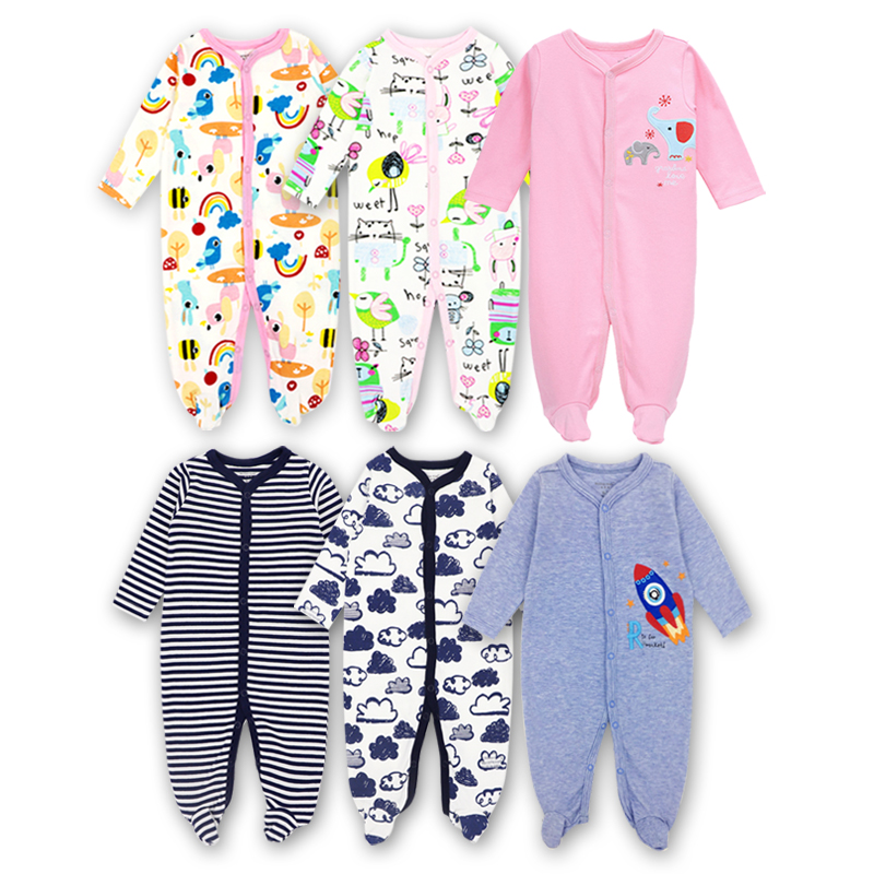 3 Pack Newborn Baby Girls Boys Clothes Babies Footie Long Sleeve 100%cotton Printing Infant Clothes 0-12 Months
