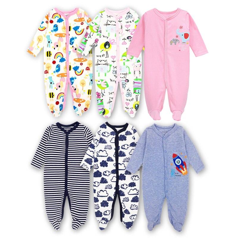 Methodisch 3 Pak Pasgeboren Baby Meisjes Jongens Kleding Baby Footie Lange Mouw 100% Katoen Afdrukken Baby Kleding 0-12 Maanden