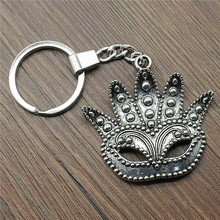 New Vintage Keychain Antique Silver Color 48x50mm Big Mask Pendant Key Chain Ring Holder Dropshipping