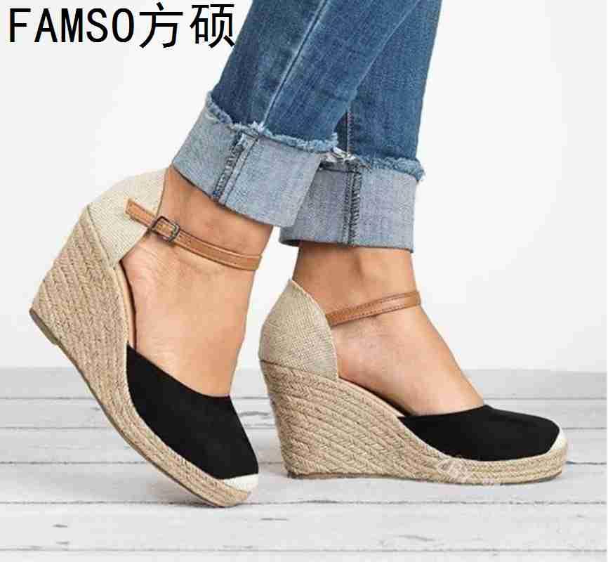 FAMSO 2019 New Arrival Shoes Women Sandals Patchwork Wedges High Heels Party Sandals Summer Designer Big Size 34 43 Lady Sandals
