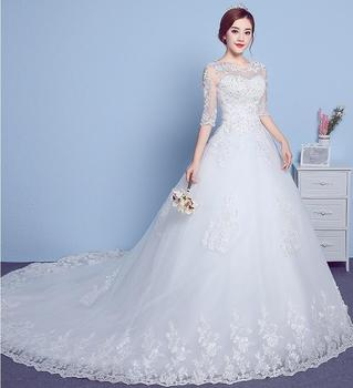 2019 White Ball Gown wedding dresses with lace Women Plus Size for Wedding Bridal Gowns Court Train Lace Wedding Gown G046