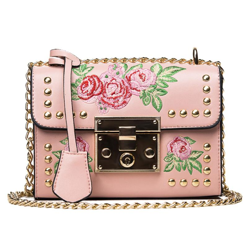 84a83679fe Women Embroidery Flower Flap Bags Fashion Flap Rivet PU Leather Crossbody  Bag Bolsa Feminina Ladies Mini Crossbody Shoulder Bag-in Top-Handle Bags  from ...