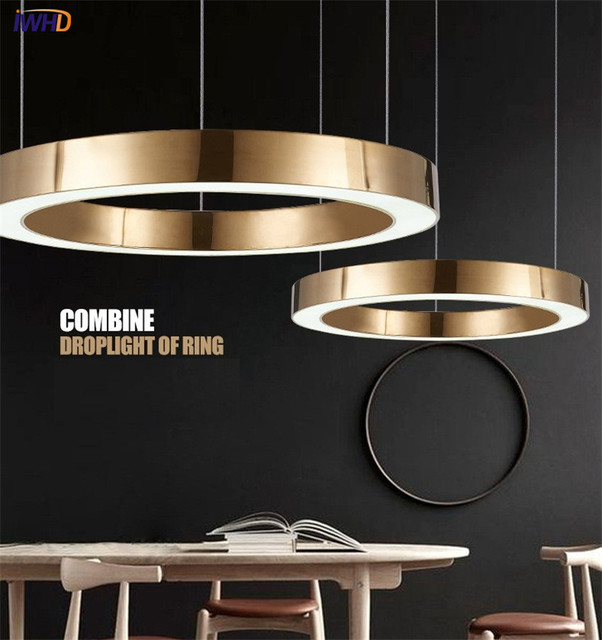 IWHD Gold Fashion Modern LED Pendant Light Fixtures Ring Shape Acrylic  Droplight For Dining Room Hanging