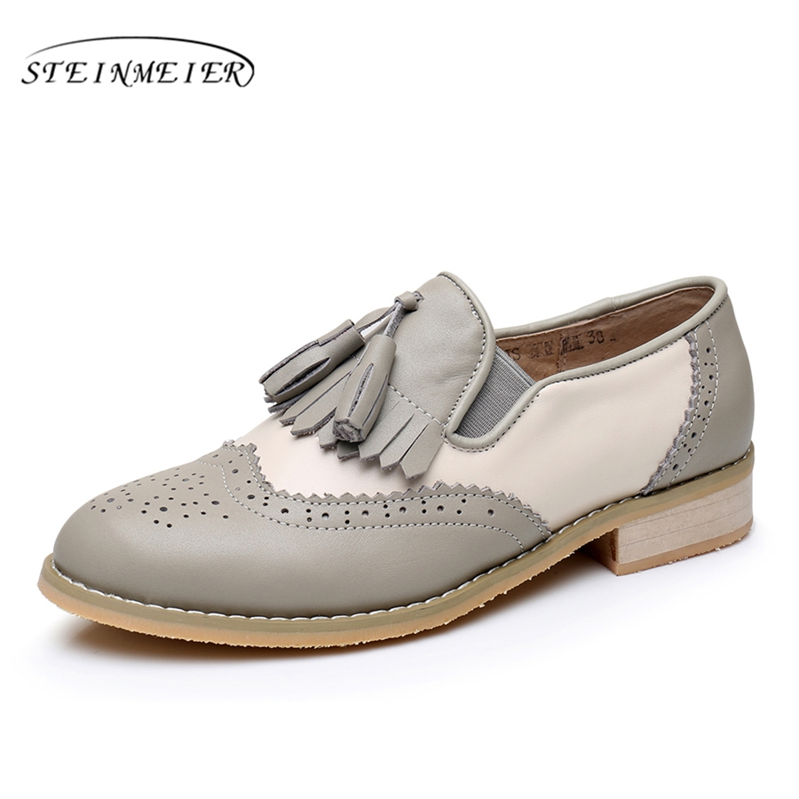 Genuine leather big woman us 10 tassel vintage flat Casual soft shoes round toe handmade grey white oxford shoes for women fur hot sale mens italian style flat shoes genuine leather handmade men casual flats top quality oxford shoes men leather shoes