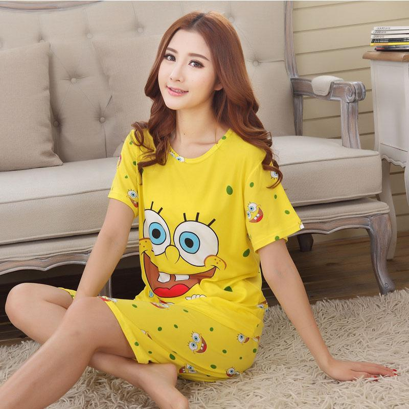 Women Shirt Shorts Sleepwear 2017 Summer Pajama Set Night Suit Cute Women Sleepwear Cheapest Korean Pajamas