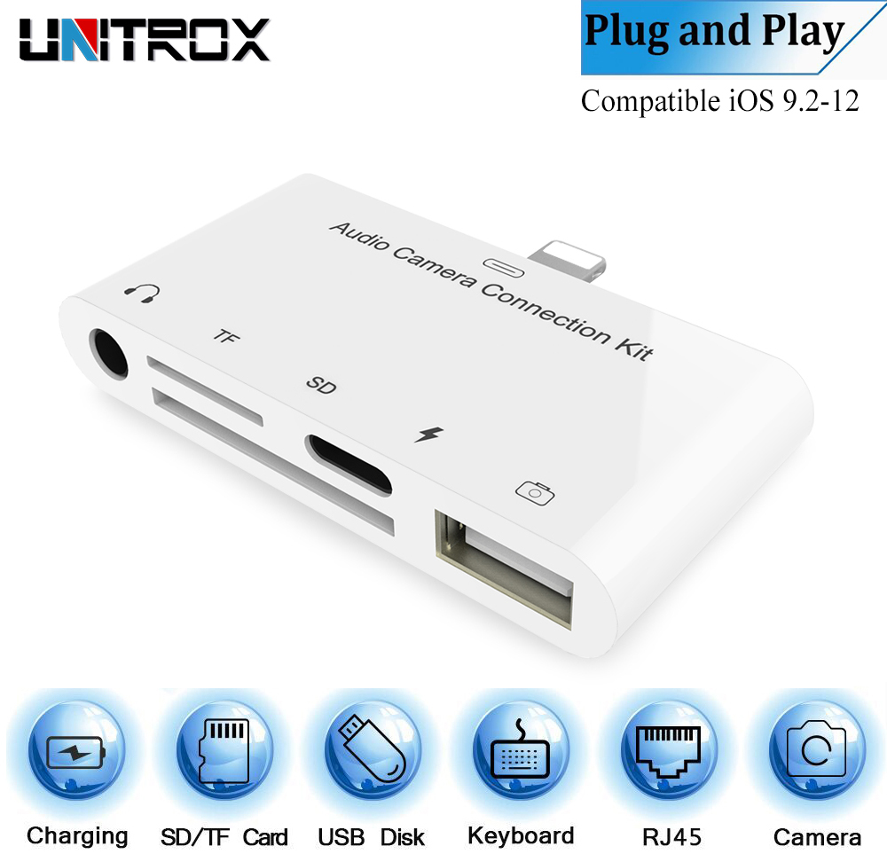 Lightning to SD Card Camera Reader Connector 5 in 1 USB Adapter For iPhone iPad
