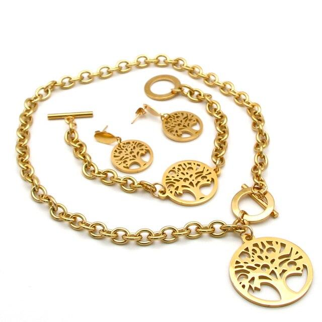 dee527241ba3 € 8.64 |Nuevo conjunto de joyas de acero inoxidable Árbol de La vida  colgante collar y pulsera y pendientes para mujeres joyería de moda La  MaxZa ...