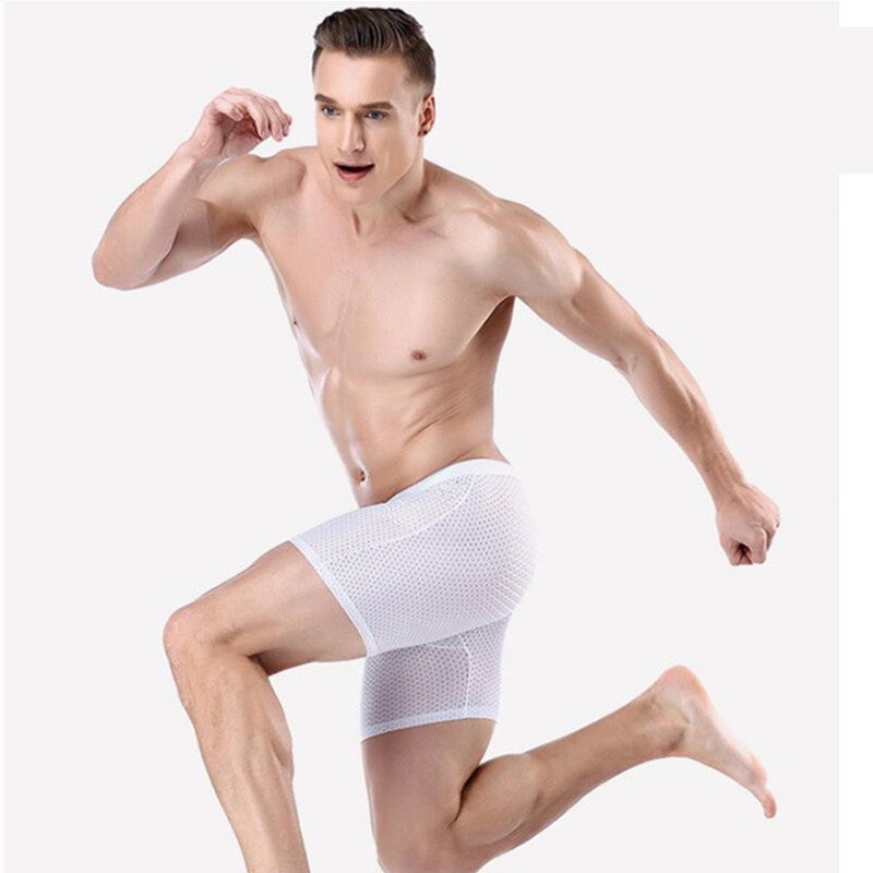 Long Underwear Panties Boxers Pull Stretch Mesh Ice-Silk Comfortable Sexy Male Fitness