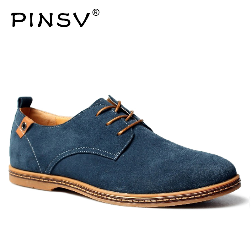 где купить PINSV Oxford Shoes Men Sneakers Black Leather Shoes Men Footwear Spring Autumn Suede Shoes Mens Black Sneakers Plus Sizes 38-48 по лучшей цене