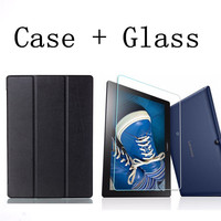 Tempered Glass Screen Protector Film PU Leather Cover Case For Lenovo Tab 2 Tab2 A10 70