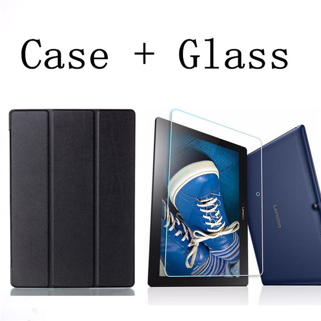 """Tempered Glass Screen Protector Film + PU Leather Cover Case for Lenovo Tab 2 Tab2 A10-70 A10-70L A10-70F A10 70 10.1"""" Tablet"""