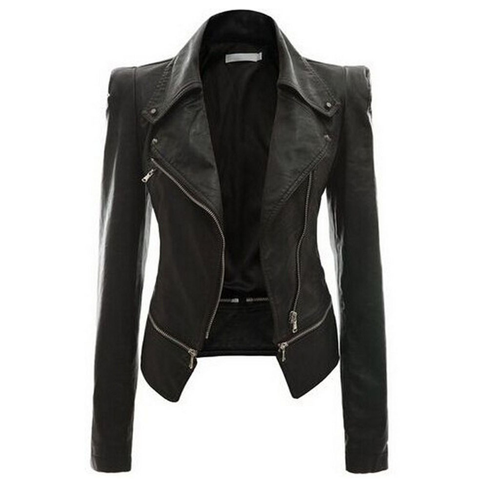 2018 autumn punk style women PU leather jacket black slim zipper lapel collar motor cool street fashion plus size warm jackets
