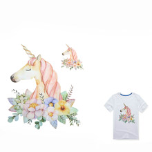 Unicorn Patch Flower Patches For Clothes T-shirt Dresses Sweater Transfer Applique DIY Accessory Decoration For Girls(China)