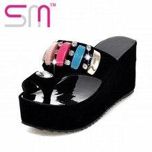 2016 Ethnic Style Women Sandals Rhinestone Flip Flops Sexy Colorful Charm Women Beach Slides Platform Shoes Woman Size 32-43