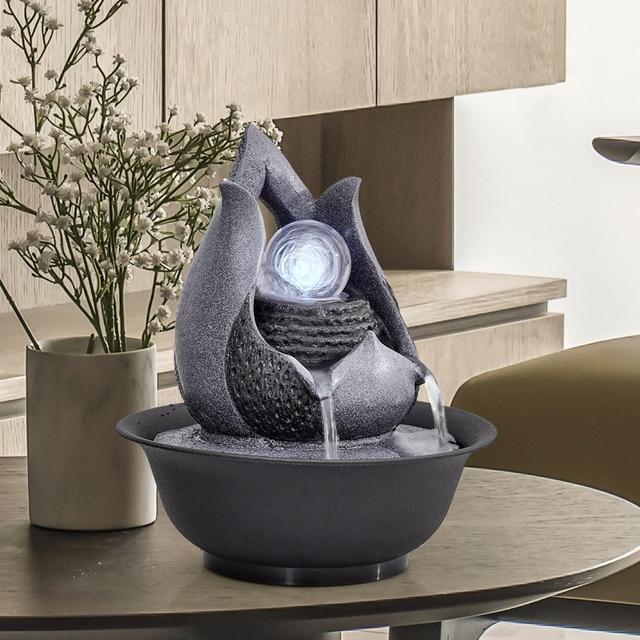Resin decorative indoor desktop figurines fengshui water fountain