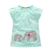 Cotton Kids girls T-Shirt Children Summer Short Sleeve T-Shirts for Girls Clothes Birds Horse Baby T-Shirt tees