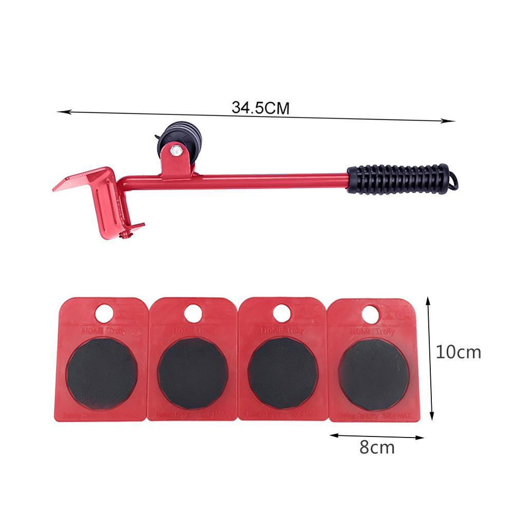 High Qulity 5 Pcs/set Furniture Lifter Mover Transport Furniture Slides Kit, Heavy Furniture Roller Move Tools (Red A)