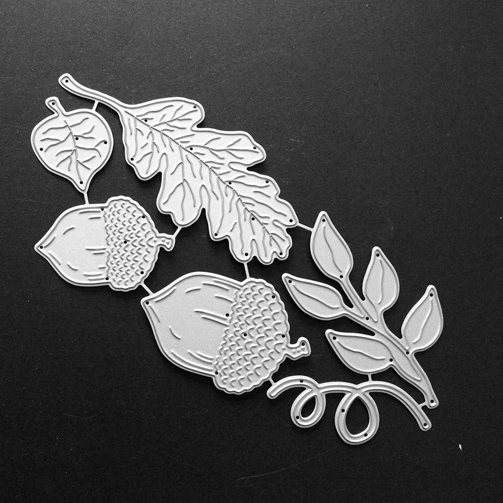 Acorns and Leaves Shape Metal Cutting Dies Stencil for DIY Scrapbooking Album Embossing Paper Cards Decorative Crafts 151X73mm