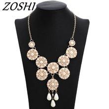 ZOSHI Fashion Jewelry Women Luxury Rhinestone Collar Colorful Crystal Flower Bib Choker Statement Necklaces Pendants Jewelry