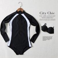 Summer Sunscreen New Black Long Sleeves One Piece Swimsuit Sexy Push Up Swimwear Slim Women S