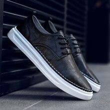 تنفس حذاء رجالي الدانتيل يصل خياطة مريحة موضة حقيقية أحذية رياضية من الجلد حذاء كاجوال Zapatillas Hombre دروبشيبينغ L4