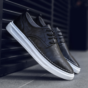 Image 1 - Ademend Schoenen Lace Up Comfortabele Naaien Mode Echt Lederen Sneakers Casual Schoenen Zapatillas Hombre Dropshipping L4