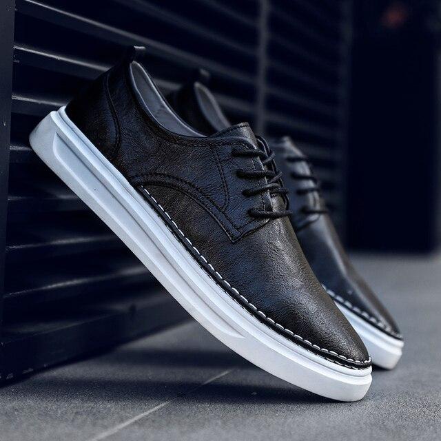 Ademend Schoenen Lace Up Comfortabele Naaien Mode Echt Lederen Sneakers Casual Schoenen Zapatillas Hombre Dropshipping L4