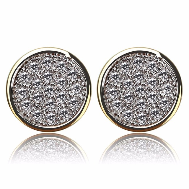 Micro Pave CZ Stone Bling Ice Out Hip Hop Stud Earring Male Gold Color Copper Material.jpg 640x640 - Micro Pave CZ Stone Bling Ice Out  Hip Hop Stud Earring Male Gold Color Copper Material Round Earrings for Men Rock Jewelry