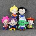 6 unids/lote 20-26 cm Juguetes de Peluche de Anime Son Goku de Dragon Ball Son Gohan Vegeta Piccolo Troncos de Peluche Suave llavero Colgante Muñecas