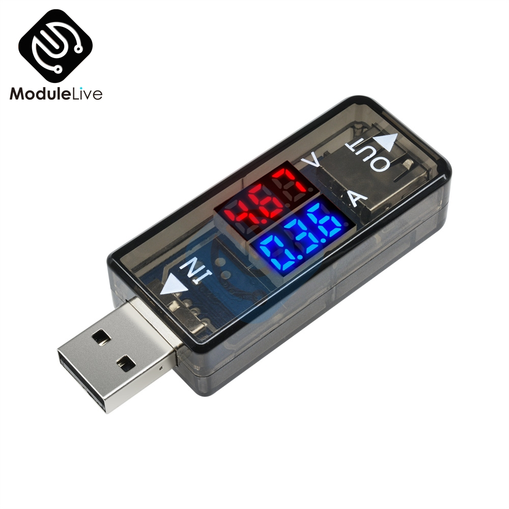 Mini 5V USB Current Voltage Meter Tester Red Blue Voltmeter Ammeter Detector Dual Digital 3.3-18V 0-3A For Mobile Phone Black