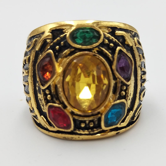 Avengers Infinity War Thanos Infinity Gauntlet Power Cosplay Alloy Ring Jewelry  3