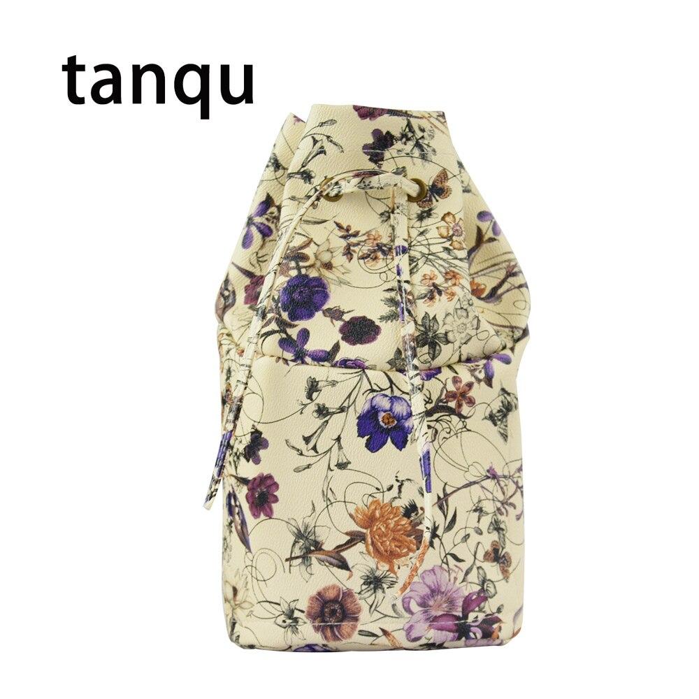Tanqu PU Leather Inner Pocket Lining For Obasket Obag Floral Drawstring Buckle Handbag Insert For O Basket O Bag