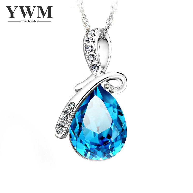 YWM 925 Sterling Silver Angel Tear Pendant Necklace Fashion Korean Pendant Jewelry Beautiful Clavicle Chain for Women Girls