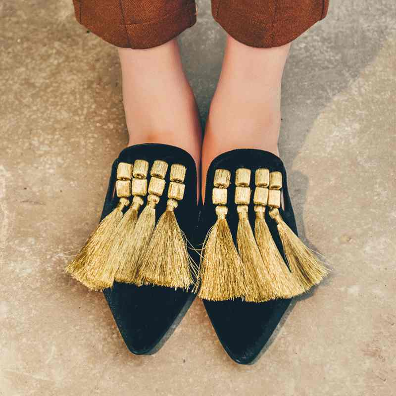 2017 new fashion brand summer shoes pointed toe embroidery women tassel slippers mixed color slip on flats Luxury cozy shoes 99 new 2017 spring summer women shoes pointed toe high quality brand fashion womens flats ladies plus size 41 sweet flock t179
