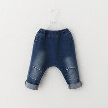 春と秋の新子供のポケットジーンズファッションかわいい男の赤ちゃんガールズクロスパンツ人格パッチジーンズズボン 2019
