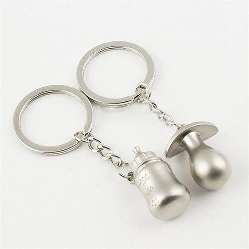 1 Pair Cute Baby Pacifier Pattern Keyring Feeding Bottle Key Ring Lovers Keychain Gift mini motorcycle helmet keychain cute keyring